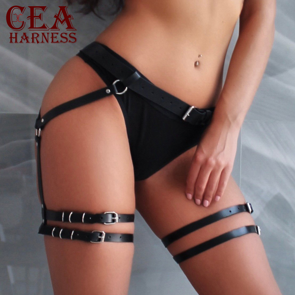 CEA.HARNESS Women's PU Leather Sword Belt Waist Garter Handmade Body Bondage Sexy Leg Suspenders Restraints Belt BDSM Harness