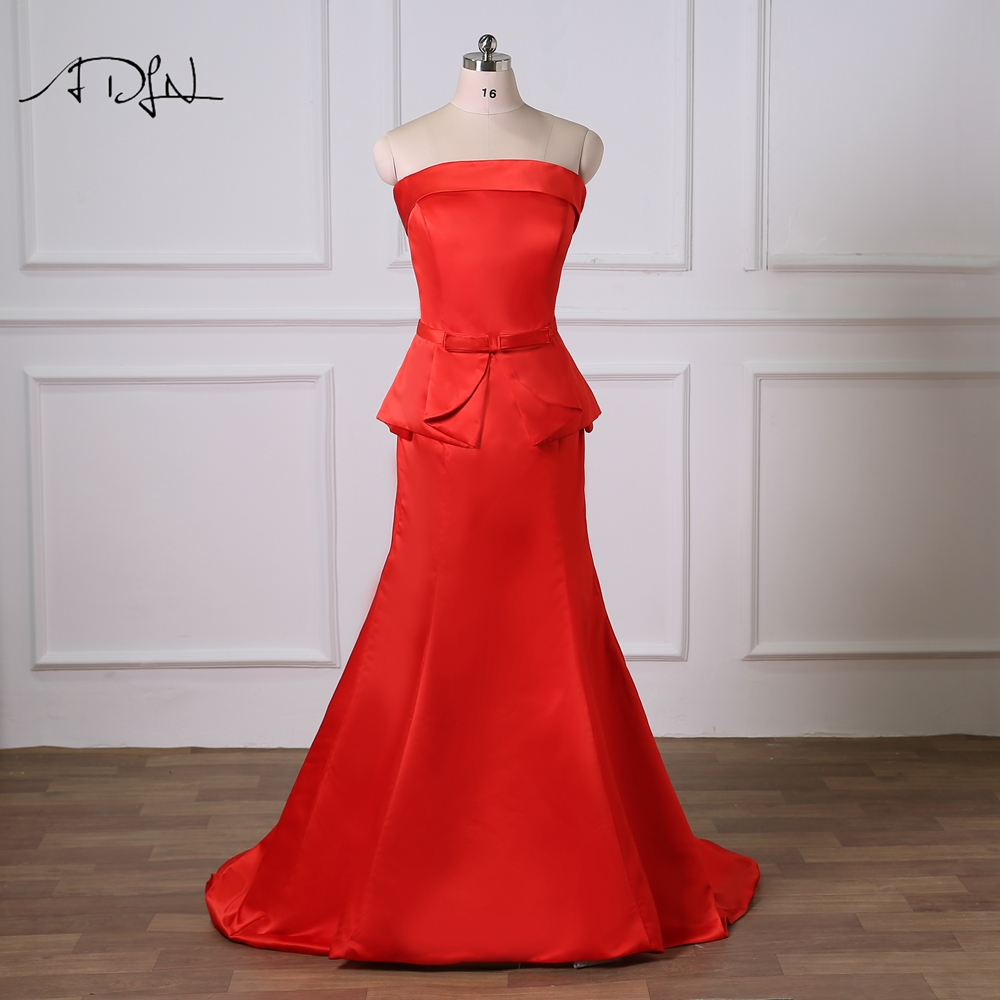 ADLN Strapless Sleeveless Red Evening Dress with Peplum Plus Size Wedding Party Gown Robe de Soiree Long Prom Dress