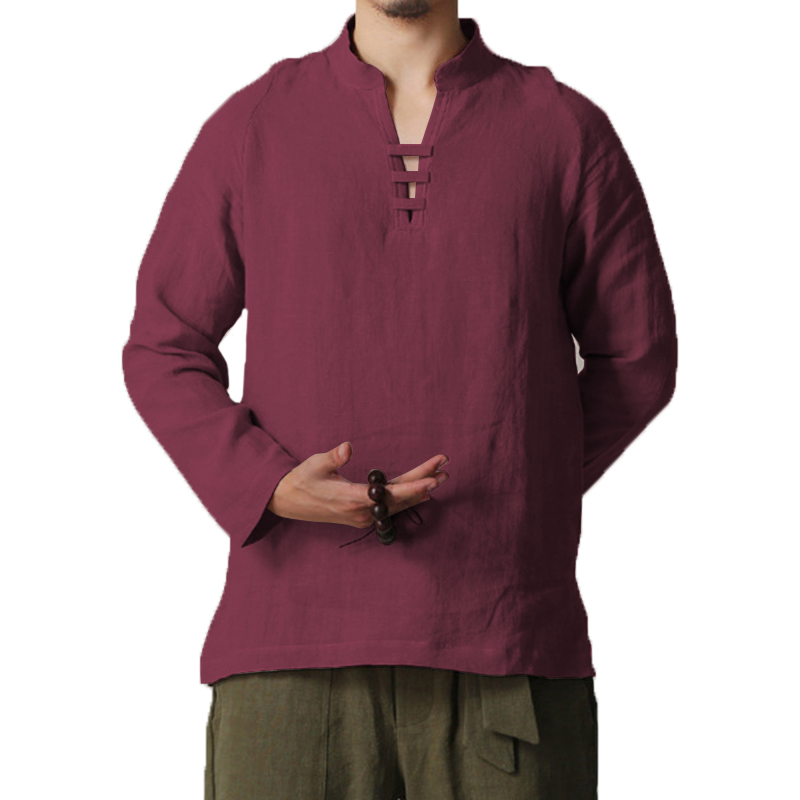 INCERUN 5XL Men Shirts Dress Casual Cotton Linen Long Sleeve Shirts V Neck Stand Collar Retro Chinese Camisa Masculina Autumn