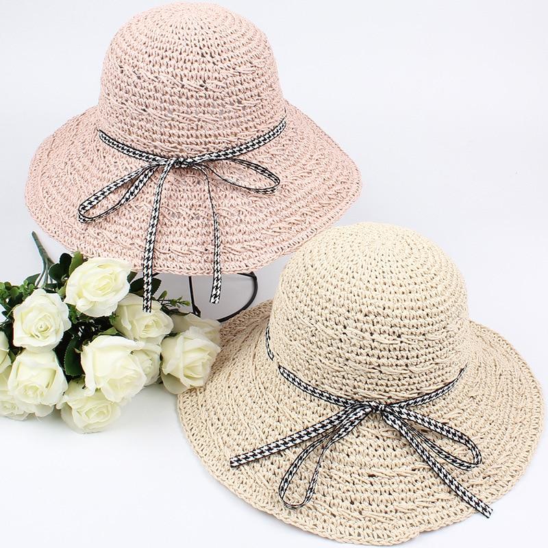 2018 nueva pajarita grande ala ancha sombrero de paja de sol mujeres  Flat-Top playa moda fresca plegable sólido verano Sombrero de Panamá 553ddc3c78f7
