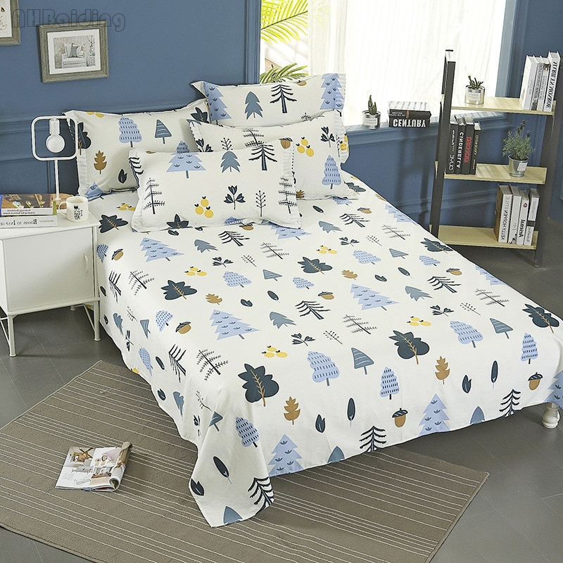 100% Cotton Bed Sheet for Adult/Kids Winter Forest Series Flat Sheet Mattress Cover Prot ...
