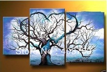 buy at disscount price Modern Abstract  Oil Painting on canvas blue sky abstract tree landscape (no framed) free shipping