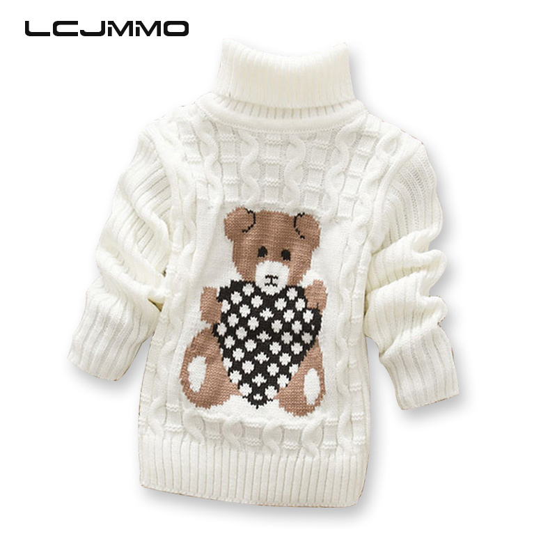 LCJMMO Boys Sweaters 2018 Cartoon Baby Girl Sweater Jumper Efterår Winter Strikket Pullover Turtleneck Varm Overtøj Kids Sweater