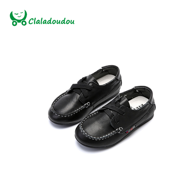 Claladoudou High Quality Children Shoes Girls Genuine Leather Boat Shoes Comfortable New Korean Youth Boys White Casual Shoes