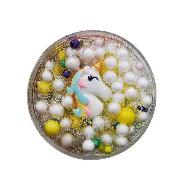 kawaii unicorn fluffy slime toys for children transparent clear clay slime supplies foam ball slime Antistress Stress Relief Toy