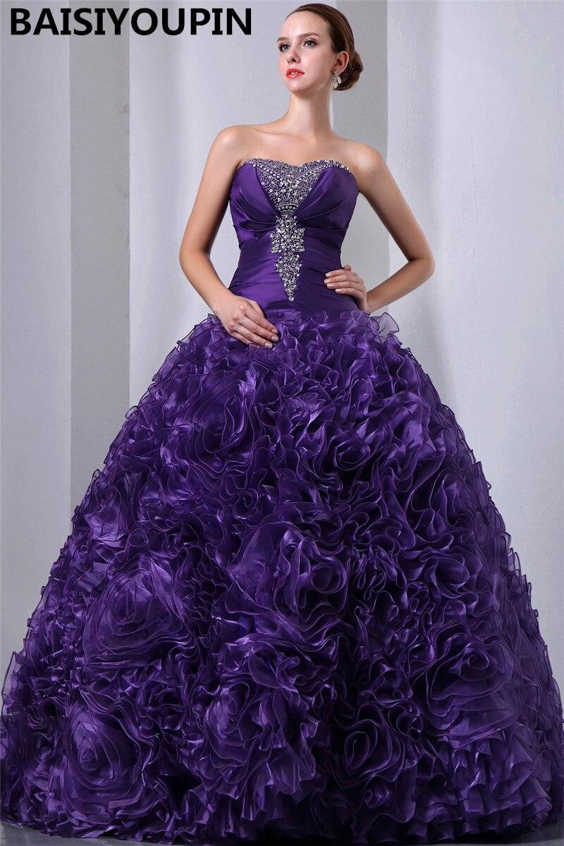 Luxueux Quinceanera robes 2019 Vestidos De Festa De 15 Anos violet Organza robe De bal mascarade robes De bal