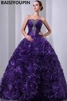Luxurious Quinceanera Dresses 2019 Vestidos De Festa De 15 Anos Purple Organza Ball Gown Masquerade Ball Dresses