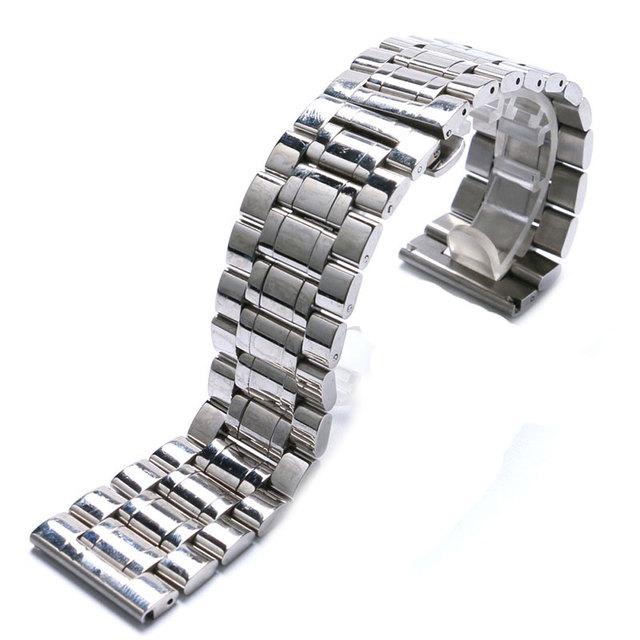 18,19, 20,22, 24,26, 28mm de Aço Inoxidável Sólido Borboleta Fecho assista bracelete Preto/Homens Brancos Assistir banda GD013