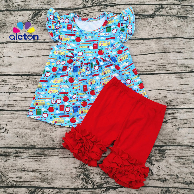 Aicton Custom Boutique Clothing Toddler Baby School Bus Print Girl back to school  Outfit Fall Cotton Ruffle Western Outfit 0f2fbea71d