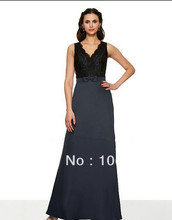 free shipping 2014 trumpet V-neck/deep V-back natural waist couture taffeta band w/bow floor length black lace Bridesmaid Dress