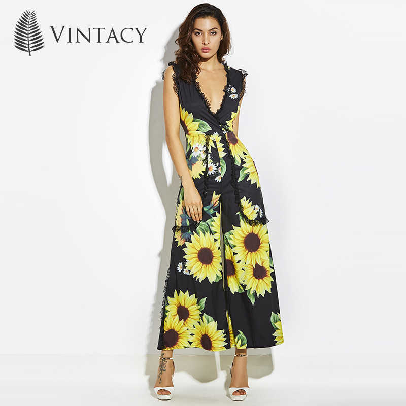 c89ff70c64b Vintacy Sexy Jumpsuits for Women 2018 Deep V Neck Black Wide Leg Long Romper  Lace Sunflower