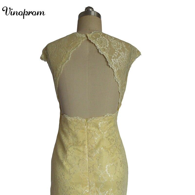 Style de pays 2017 date jaune dentelle courte robes de demoiselle d'honneur pour les mariages pas cher bijou dos nu genou longueur décontracté - 4