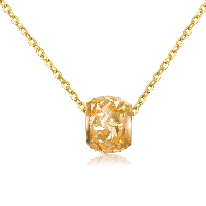 Nouveau AU750 18 K or jaune pendentif femmes creux 7 MM boule collier pendentif P6264