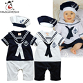 2016 New Baby Romper Newborn Baby Girls Clothes Short Sleeve Sailor Suit Style Romper For Baby Boy 1 Year Old Birthday Gift
