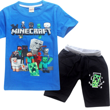 Minecraft pattern boy children's clothing short-sleeved T-shirt + shorts suit summer new fashion cotton T-shirt cartoon clothes цена
