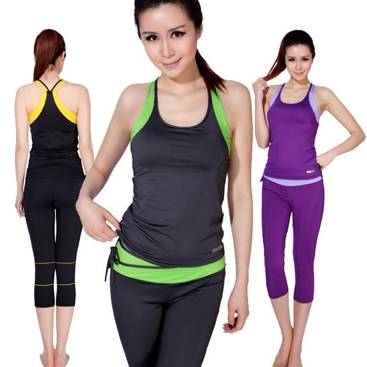 2014 women brand yoga suit fitness clothes tight running