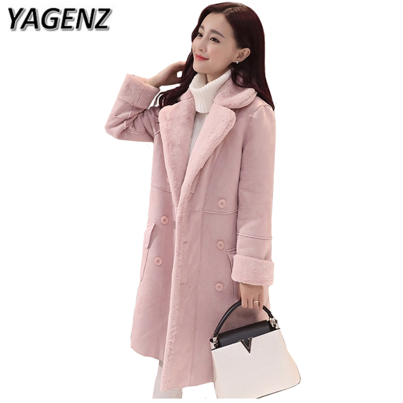 YAGENZ2017 Winter New Jackets Women Coat Korea Slim Double-breasted Thicker Suede Lamb Wool Coat Medium Long Warm Cotton Jacket qazxsw 2017 new winter cotton coat women long parkas thick velvet double breasted lamb winter jacket women suede jackets hb321