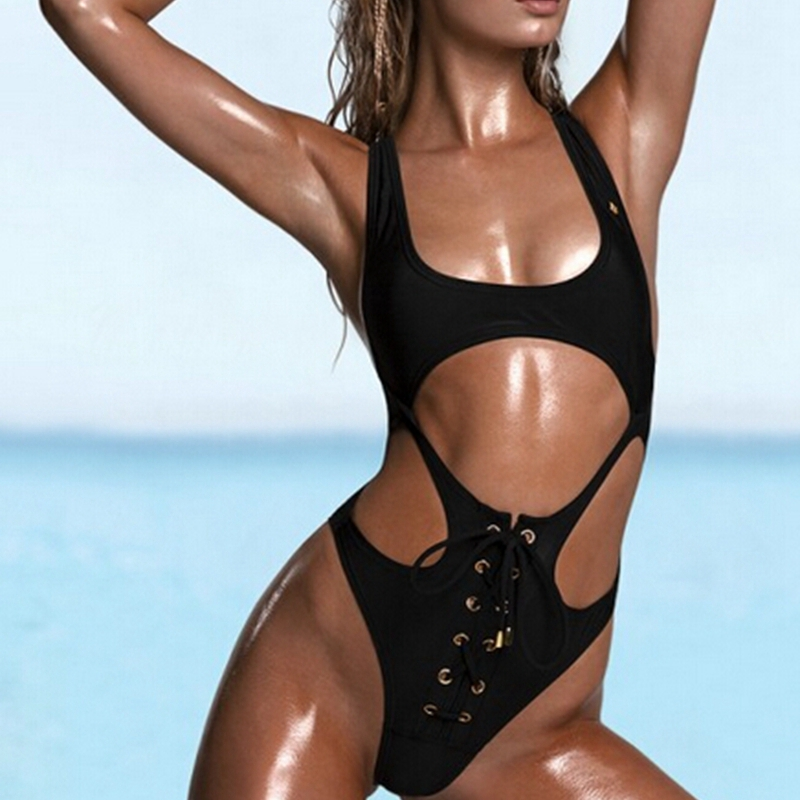 New black high cut one piece swimsuit sexy thong one piece swimwear bandage bathing suit high cut swimwear CUT out monokini high neck one piece swimsuit women high cut thong swimwear sexy bandage trikini hollow out mesh bodysuit female zipper monokini