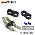 2 Black Universal - An10 Billet Oil/Fuel/Water Hose Turbo Separator Divider Clamp EP-YGJAN10-2-BK