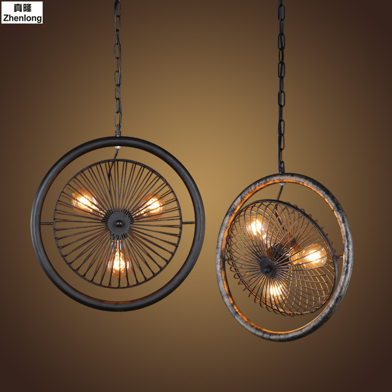 Creative Personality Retro Restaurant Bar Cafe Cage Industrial American Country Ancient Imitation Bronze Pendant Lamp Iron Fan creative personality retro pendant light leisure restaurant bar balcony pendant lamp american country iron lighing fixture