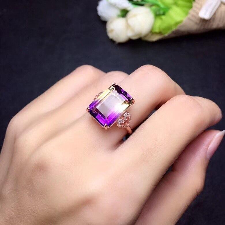 Simple princess square Natural amethyst lady ring 925 silver novel craftsmanship beautiful colors