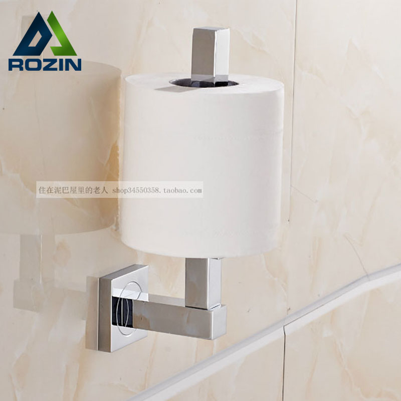 Polished Chrome Wall Mount Standing Toilet Paper Holder Bar Brass Roll Paper Tissure Rack  цена и фото