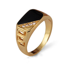Ajojewel Size 7-12 Classic Gold-color Rhinestone Men Ring Black Enamel Male Finger Rings Best Selling(China)