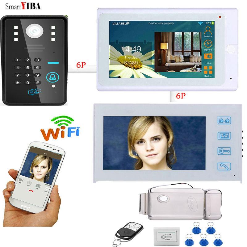 SmartYIBA  IR Night Vision WIFI Video Intercom 2 Monitors Kits Password Unlock Doorphone12V Power Supply Electronic Lock System