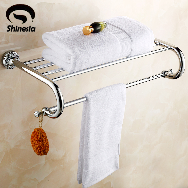 Chrome Polished Solid Brass Carved Bathroom Towel Rack Towel Shelves Bathroom Accessories Wall Mount high quality solid brass bathroom towel bar single towel rack towel holder chrome polished