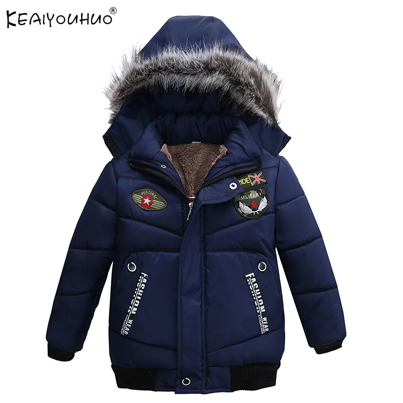 KEAIYOUHUO Winter New Boys Coats Cotton Hooded Zipper Jacket Long Sleeve Warm Coats For Boys Clothes Outerwear Children Clothing