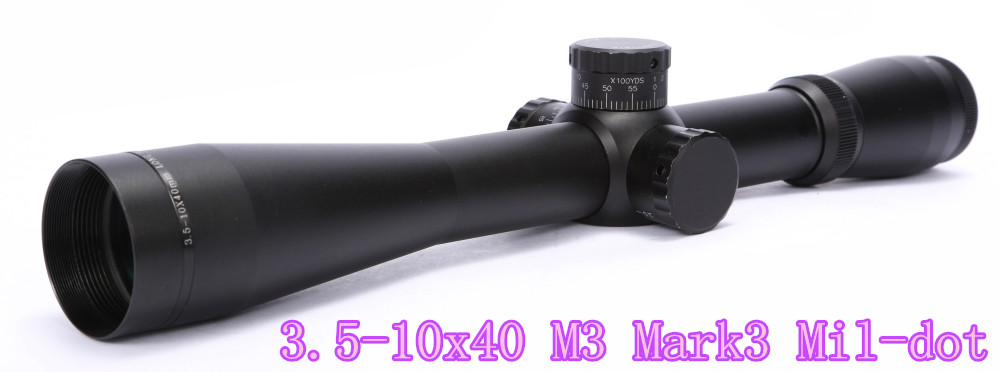 High Quality 3.5-10x40 M3 Mark3 Mil-dot Airsoft Riflescope Red illuminated Sight Air Gun Pistol Scope for Hunting
