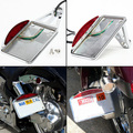 License Plate Frame Silver LED Tail Brake Light side mount For Harley Davidson Chopper Motorcycle accessories frame