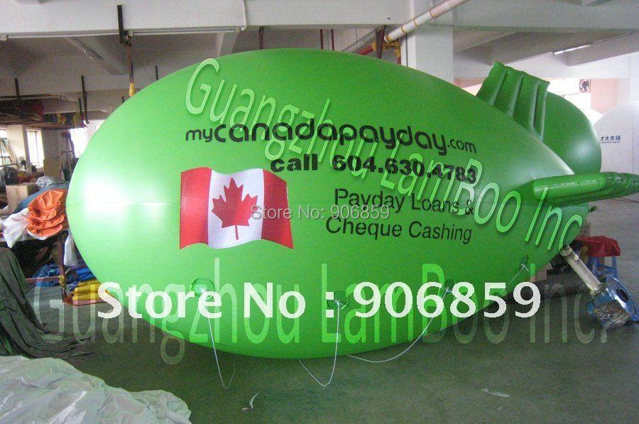4 м(13 футов) длинный зеленый надувной Полужесткий дирижабль для вашего продвижения с различными логотипами