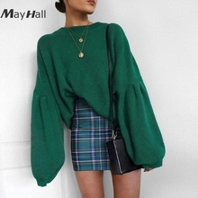 MayHall Lantern Long Sleeve Autumn Winter Loose Jumper Sexy O Neck Drop Shoulder Sweater Solid Pullovers casaco feminino MH332 black fashion v neck drop shoulder jumper