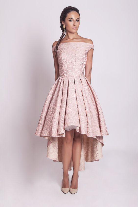 High Low Pastel Pink Lace Short Prom Dresses 2016 Robe De Bal Longue
