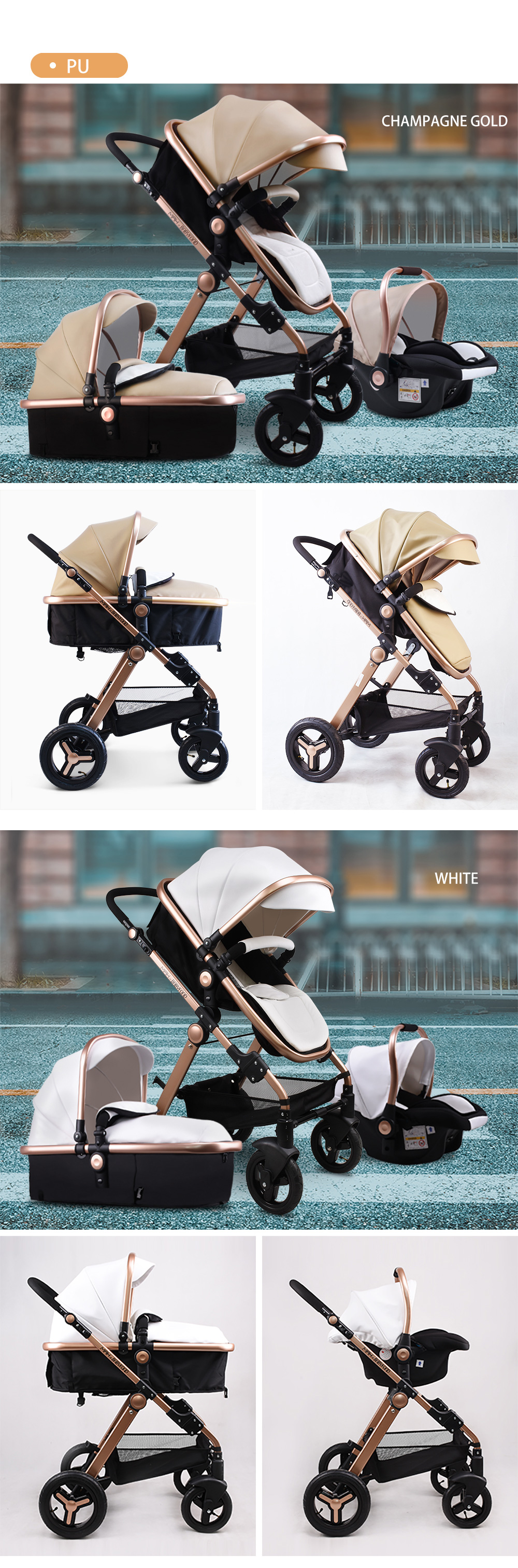 Babyfond High Landscape Baby Stroller 3 in 1 Carriage Pu Leather Aluminum Alloy Frame Pram EU Stand Baby Stroller with Comform