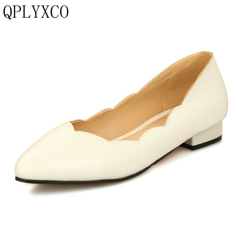 QPLYXCO New Sweet Elegant super big small Size 28-52 Shoes Women Solid Loafers Shallow Women low heels Spring Autumn shoes 277 sweet loafers women heels shoes for spring breathable heels shoes autumn shoes women ballet shoes orientpostmark