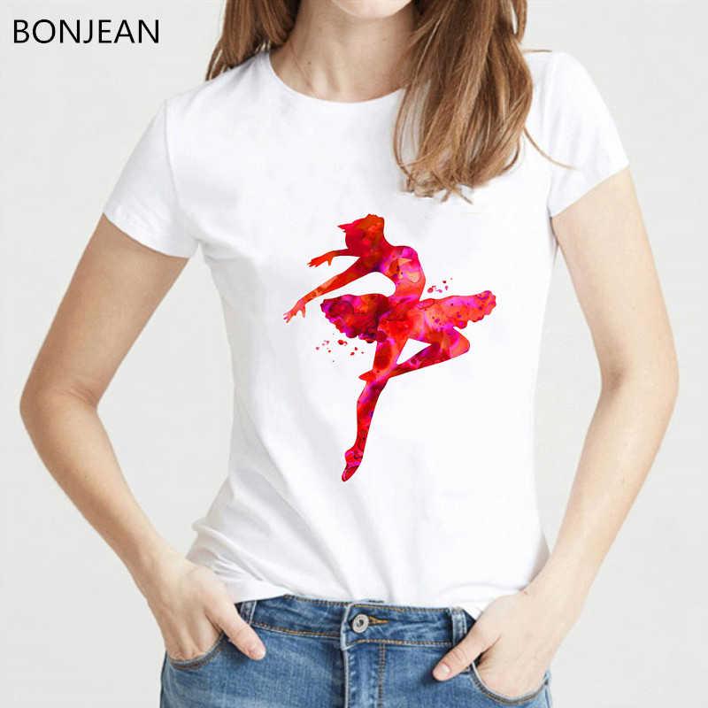 Rosa ballerina stampato maglietta delle donne di Balletto di Danza di arte tee shirt femme estate harajuku kawaii vestiti di bianco della maglietta di trasporto di goccia
