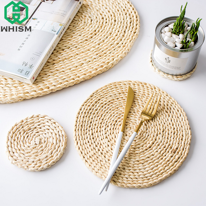 Whism Rattan Placemats Straw Cup Coasters Dining Table Mat