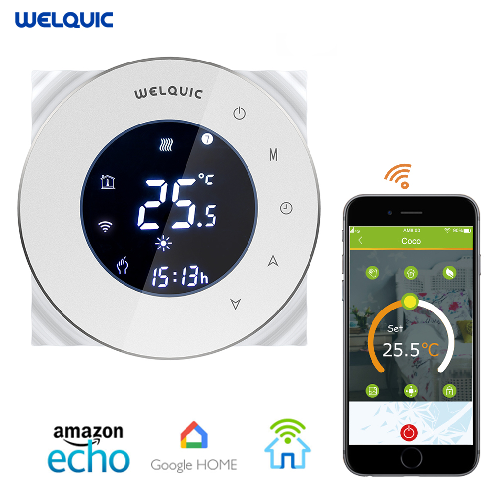 Welquic WiFI Smart Digital Thermostat Touch Screen Room Heating Programmable Thermostat Room Temperature Controller