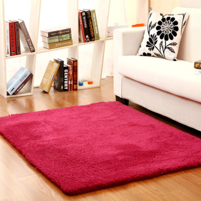 new fashion red fluffy rugs antiskid shaggy area living room home bedroom carpet thick - Fluffy Rugs