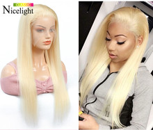 613 Bob Blonde Lace Front Wig Long Straight Human Hair Wig Glueless Wig Nicelight 13X4 Lace Frontal Wig Peruvian Lacefront Wig(China)