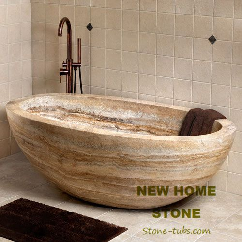 Travertine oval bathtub brown color high end freestanding baths ...