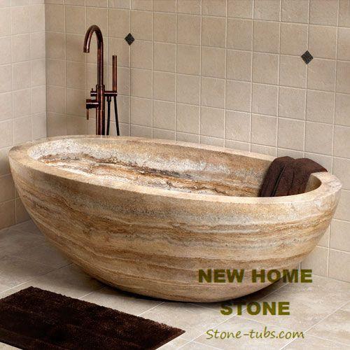Travertine Oval Bathtub Brown Color High End Freestanding Baths Design Luxury Bathtubs Manufacturer