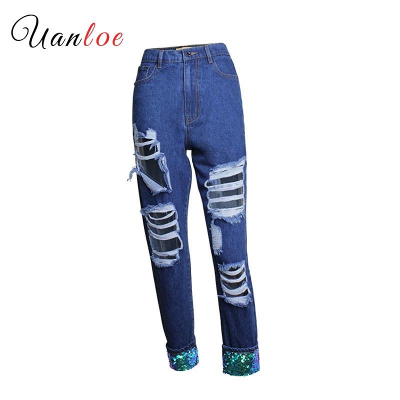 2019 petit ami Style paillettes Jeans femmes mode trou déchiré Jeans femme taille haute cheville longueur lâche droite Jeans
