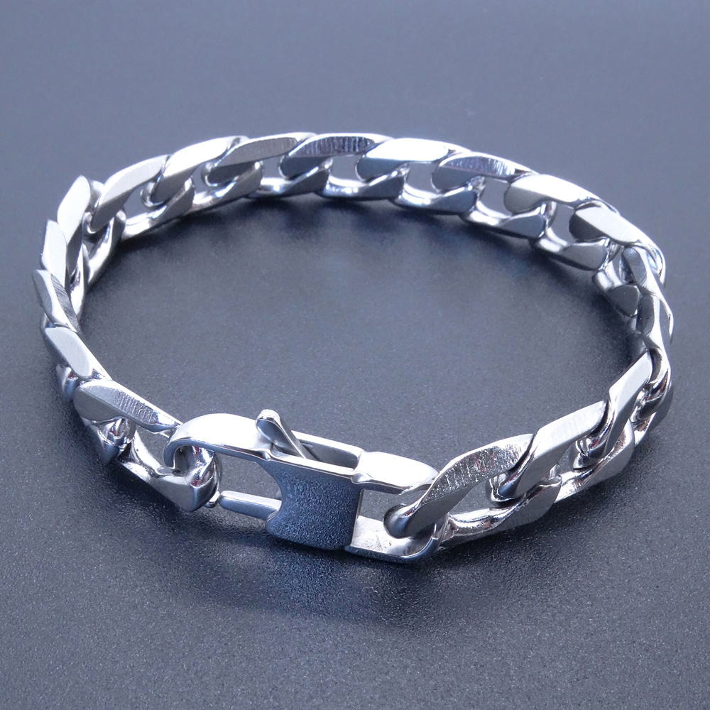 Men Women Stainless Steel Bracelet 6/8/<font><b>12</b></font> <font><b>mm</b></font> 8 Inches Curb Chain Vintage Jewelry Punk Fan Factory Offer image
