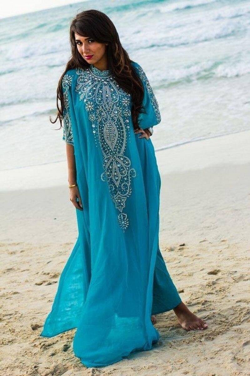 Custom Made Teal Evening Dresses Beaded Caftan Dubai Arabic Kaftan ...