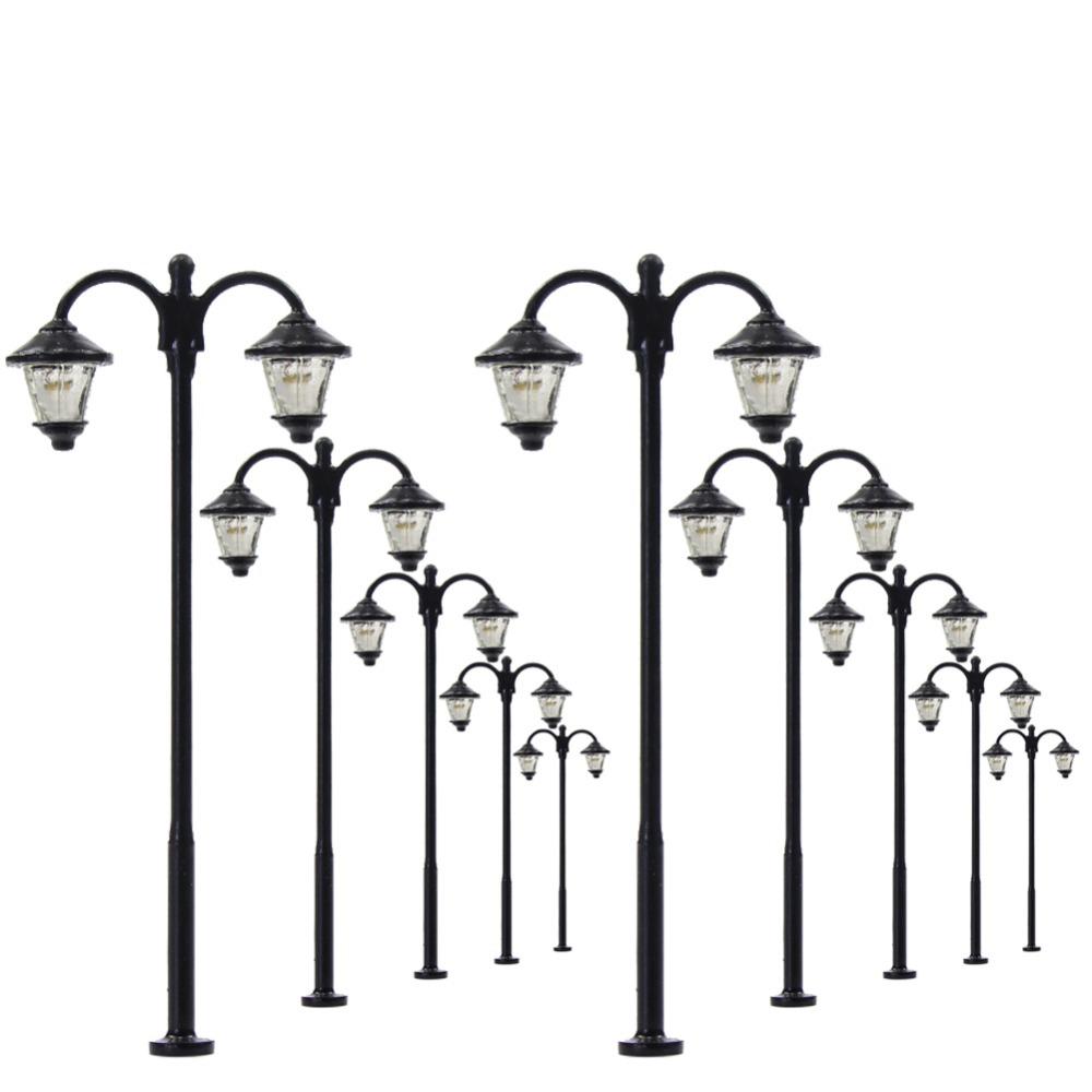 10pcs OO//HO Scale Model Railway Lamppost Street Lights 12V Lamps Yard