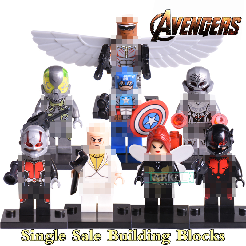 Single Sale Marvel Super Heroes Avengers Captain America X-Men Wasp Ant-Man diy figures Building Blocks figure Bricks Toys single sale super heroes thor spiderman captain america batman hawkeye bricks action building blocks toys for children xh 004