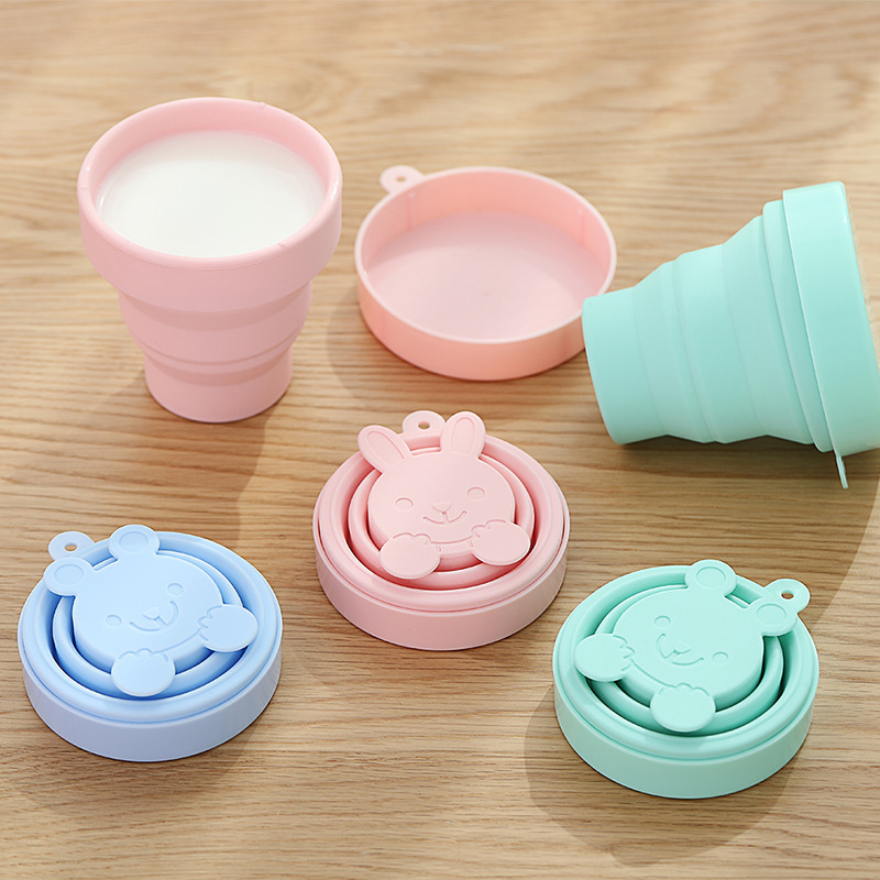 High quality Portable Candy Color Silicone Folding Water Cup Lovely Retractable Tumblerful Soft Travel Outdoor Camping Drinkware in Teacups from Home Garden